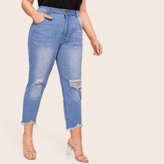 Plus Raw Hem Ripped Jeans