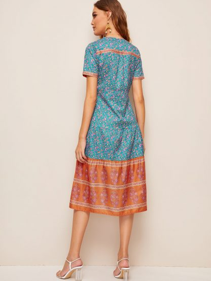 Tribal Ditsy Floral Button Front Dress