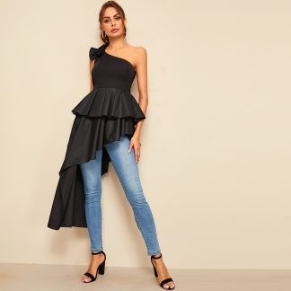 One Shoulder Exaggerate Ruffle Asymmetrical Top