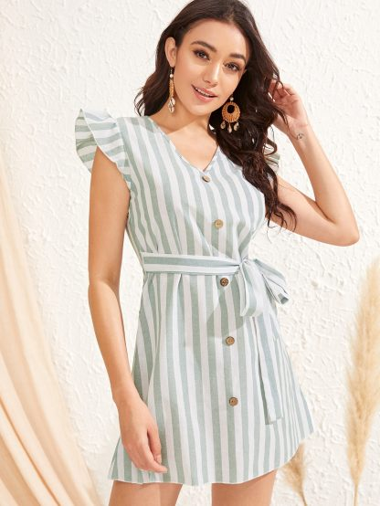 Ruffle Armhole Button Front Self Belted Dress
