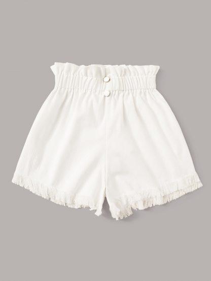 Paperbag Waist Raw Hem Shorts