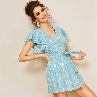Flutter Sleeve Belted Dress