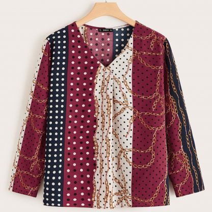 Plus V-neck Scarf Print Top