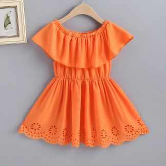 Toddler Girls Laser Cut Out Neon Orange A-line Dress