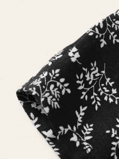 Plants Print Elastic Waist Romper With Knot Strap