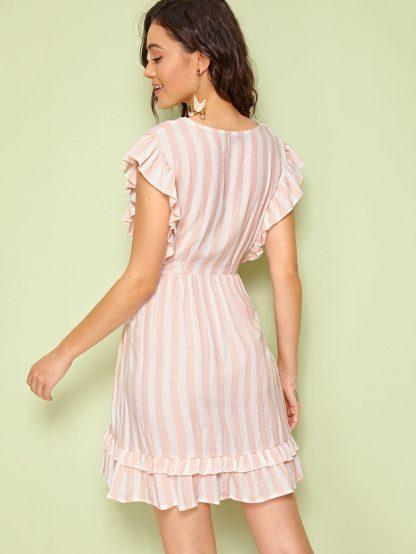 Plunging Neck Tie Waist Ruffle Striped Dress