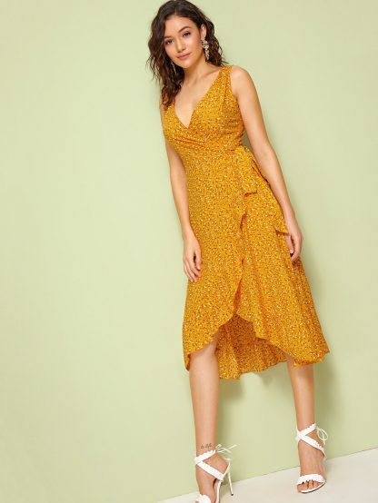 Surplice Wrap Knotted Ditsy Floral Print Dress