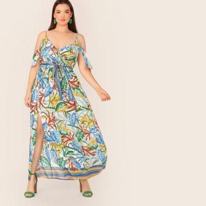 Plus Cold Shoulder Side Slit Botanical Belted Dress