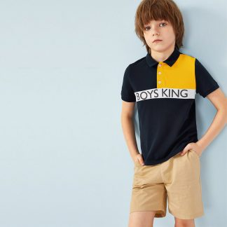 Boys Cut-and-sew Letter Print Polo Shirt