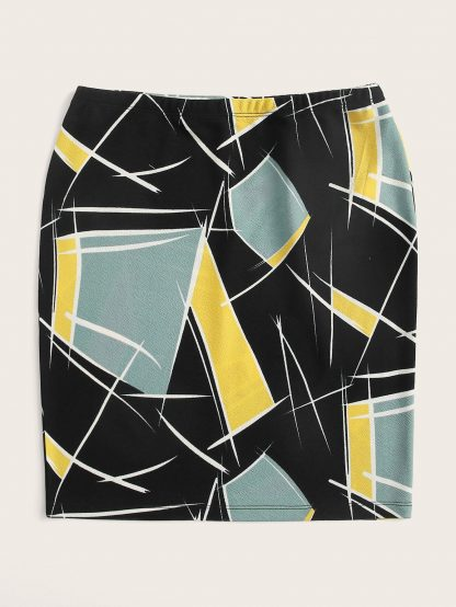 Elastic Waist Color Block Skirt