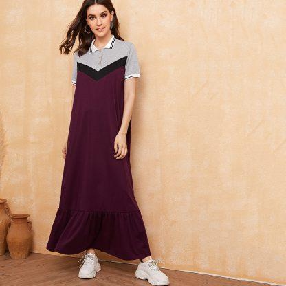 Cut And Sew Ruffle Hem Polo Shirt Dress