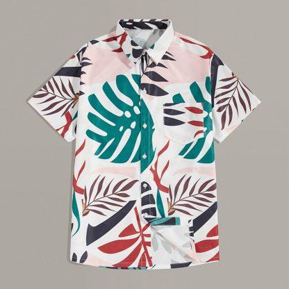 Men Tropical Print Pocket Shirt