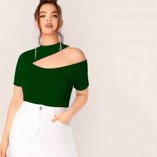 Plus Mock-neck Cut Out Shoulder Top