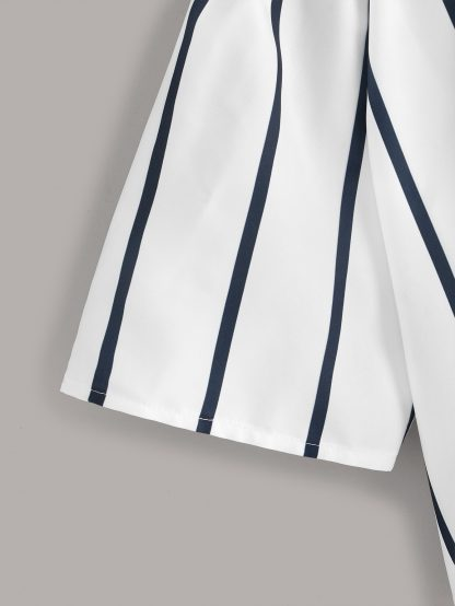 Knot Side Off-shoulder Stripe Blouse