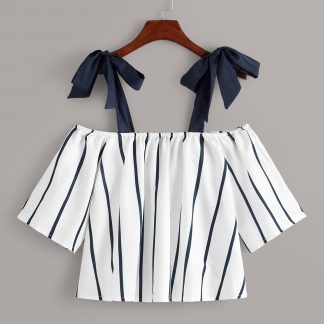 Knot Side Off-shoulder Stripe Blouse