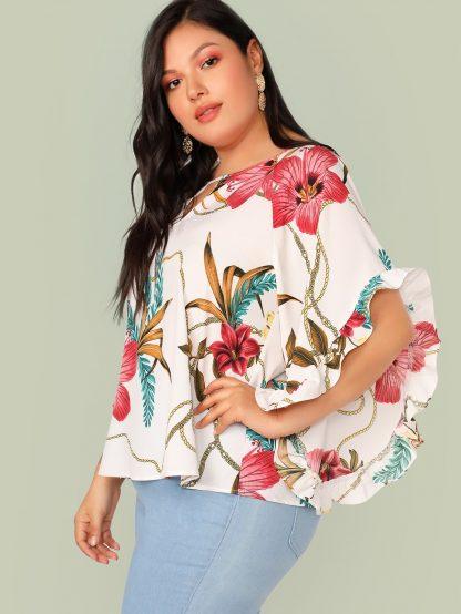 Plus Ruffle Cuff Batwing Sleeve Floral Print Peekaboo Top