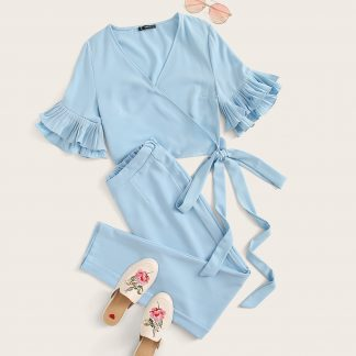 Surplice Wrap Layered Ruffle Sleeve Knotted Top & Pants Set