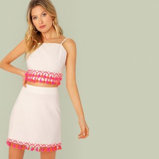 Colorful Tassel Trim Tie Back Top & Skirt Set