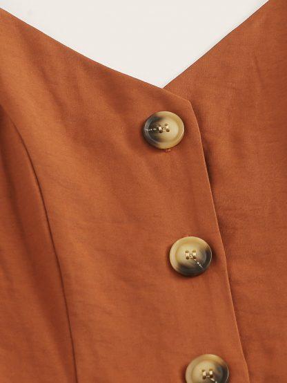 Plus Button Rolled Hem Cami Romper