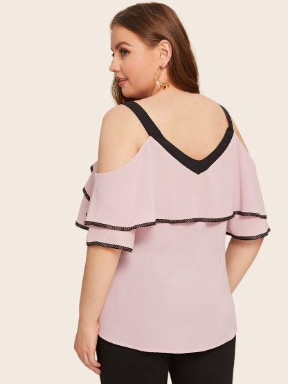 Plus Knot Tiered Layer Cold Shoulder Blouse