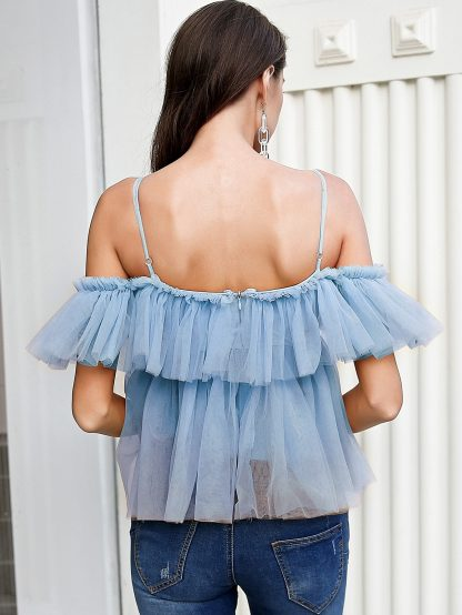Simplee Ruffle Trim Lace Up Cold Shoulder Mesh Top