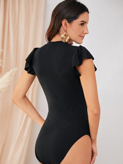 Solid Cut Out Front Form Fitted Bodysuit