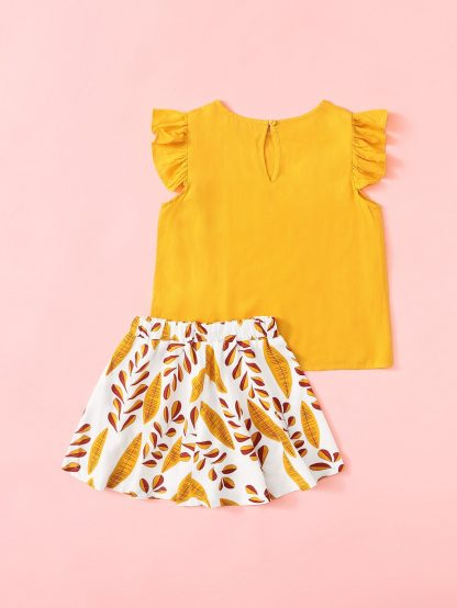 Toddler Girls Ruffle Trim Top & Leaf Print Skirt Set