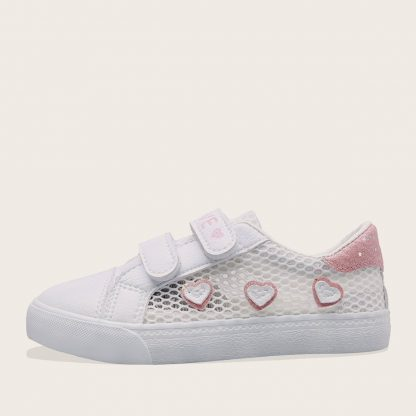 Girls Heart Patch Glitter Detail Sneakers