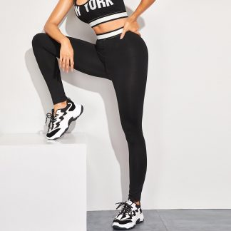 Taped Waist Skinny Leggings