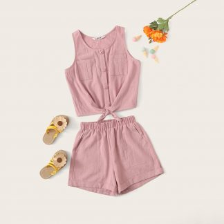 Girls Tie Hem Button Front Top and Pocketed Shorts Set