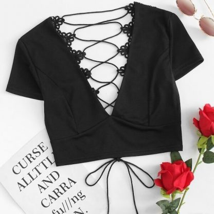 Plus V Neck Lace-up Tie Back Crochet Top