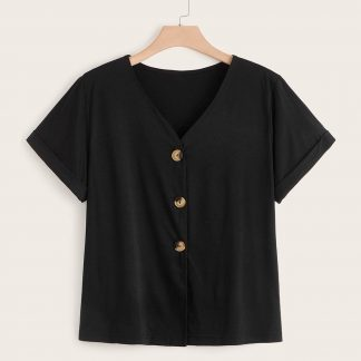 Plus V Neck Roll Up Sleeve Button Front Tee