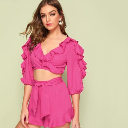 Guipure Lace Ruffle Trim Top & Belted Shorts Set