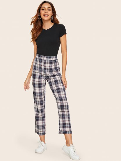 Plaid Print High Waist Pants