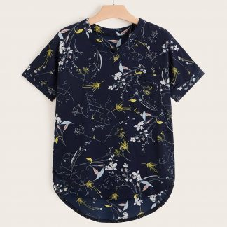 Plus V-neck Floral Print High Low Blouse