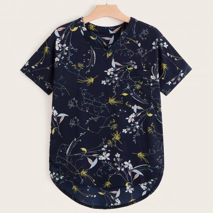Plus V-neck Floral Print High Low Blouse