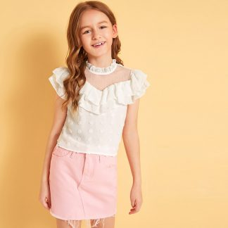 Girls Dobby Mesh Insert Ruffle Swiss Dot Top